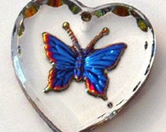 20mm Austrian Crystal HELIOTROPE Butterfly Pendant Charm Etched Heart Shape