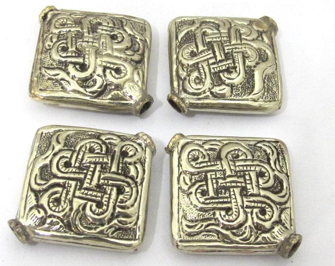 2 Beads - Large size Tibetan silver repousse endless knot design focal pendant bead -  BD846s