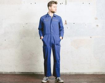 Vintage 80s Work OVERALLS . Men's Jumpsuit Workwear 1980s Blue Garage Car Mechanic Full Cover Super Mario Dungarees Outerwear . size Medium