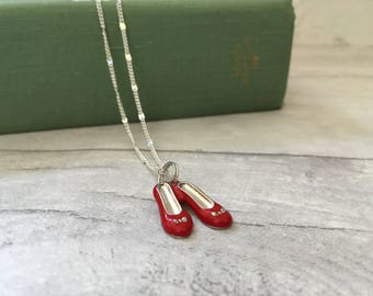 Cute charm necklace with red shoes, fairytale necklace, whimsical necklace, gifts for teen girls, gifts for her, dancing shoes, etsy uk