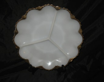 Vintage Milk Glass 3 Section Plate With Gold Trim