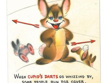 Rabbit Vintage Hallmark Anthropomorphic Valentine Card