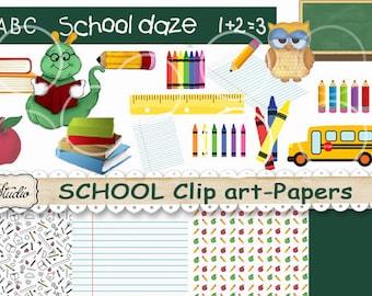 School Clip art Digital,  School Background Papers, Instant Download paper, Cards, School Tags, Bookworm Bookmarks, wise owl, school bus