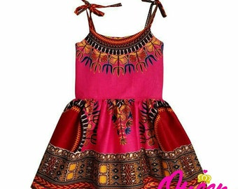 Pink Girls Dashiki African Print Sundress