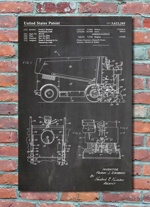 Zamboni patent wall art print patent art patent poster malvernweather Gallery