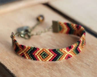 Tiger eye gemstone southwestern bracelet, Filigree heart charm, Aztec friendship macrame, Nomad tribe woven cotton, Native american indian
