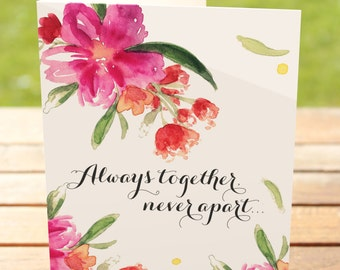 One (1) Original Art Missing You Floral Design Greeting Card