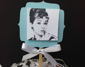 Audrey Hepburn Breakfast at Tiffany's Cupcake Toppers