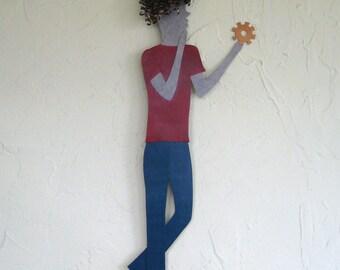 Metal Wall Art custom Thinker Sculpture Recycled Personalized Engineer Graduate Scholar Wall Decor 5 x 20