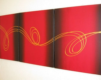 """extra large wall art triptych huge wall hanging abstract """"Gold Strands"""" contemporary office home huge canvas art 3 three panel 54 x 24 """""""