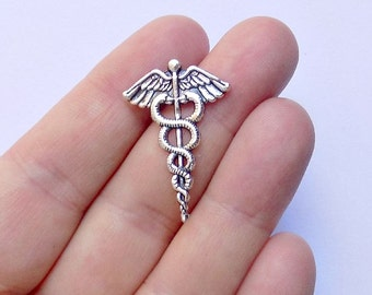 10 Caduceus Medical Symbol Charms - #S0142