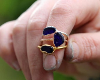 Seaglass Ring - Cobalt Blue Glass - Beach Glass Jewelry - Fine Silver Ring
