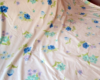 Vintage Twin Sheet, Floral, Blue, Aqua, Violet, Green, Perma Prest