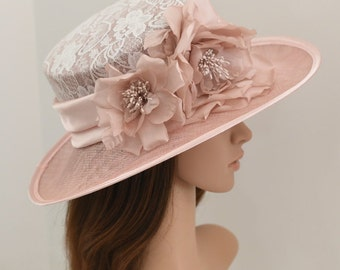 """Kentucky Derby, Church, Wedding, Carriage, Tea Party 4"""" with Two Silk flowers 3 Layers Sinamay Lace Hat Medium Brim ( Blush Pink )"""