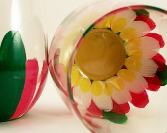 Hand painted stemless wine glasses with lotus flowers, set of 2 ready to ship