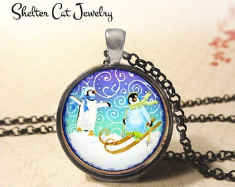 """Whimsical Penguins in Winter Wonderland Necklace - 1-1/4"""" Circle Pendant or Key Ring - Photo Art Jewelry - Wildlife, Winter, Christmas Gift"""