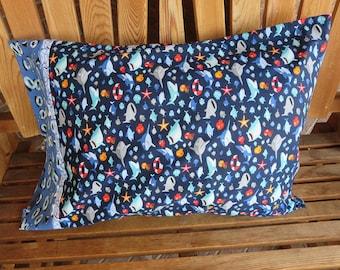 Shark Pillowcase - Sharktown - Riley Blake Fabric