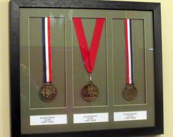 3 medal personalised marathon running/triathlon display frame