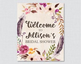 Boho Bridal Shower Welcome Sign Printable - Bohemian Bridal Shower Customizable Sign - Flowers and Feathers Wedding Shower Decor 0006