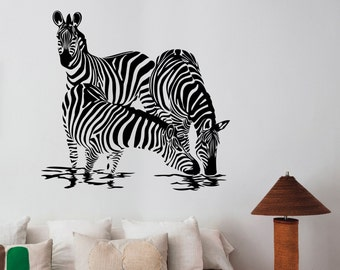 Zebra Family Wall Decal Vinyl Sticker African Horse Wild Animal Art Decorations for Home Housewares Living Room Bedroom Wildlife Decor zb5