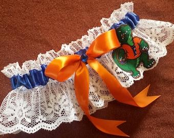 University of Florida Gators UF Inspired White Lace Wedding Garter Belt Toss or Set
