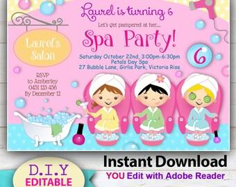 EDITABLE - Day Spa Invitation, Printable Spa/Pedi Invite, Birthday Party Invitations, Pedicure Party, YOU Edit at home with Adobe Reader!