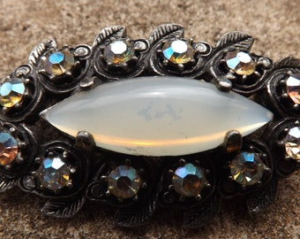 Miracle brooch, marquise glass  , stones , vintage brooch , opalite glass