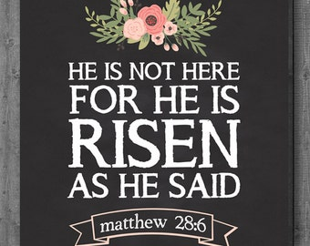 Easter Print - Instant Download - He is Risen - 8x10 - 16x20