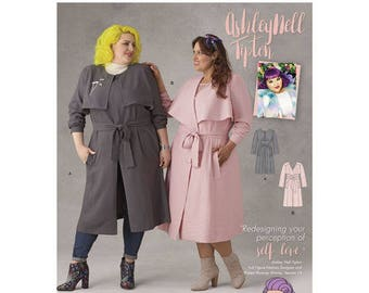 Sewing Pattern for Plus Size Women's Coats by Ashley Nell Tipton, Simplicity Pattern 8472, Plus Size 18W to 34W, New Fall 2017 Line
