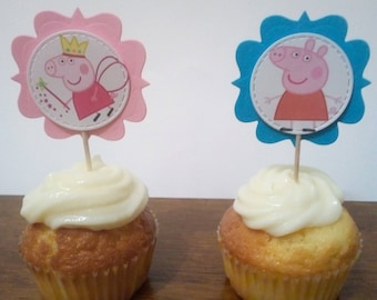 12Cupcake Toppers PeppaPig/party/decorations/first birthday/topper/children/birthday/birthday peppapig/PeppaPig decorations/PeppaPig theme