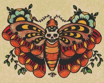 Modern Cross Stitch Kit By Illustrated Ink 'Muerte Moth'