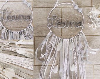 Dream catcher 74 cm personalized with name with feathers, ribbons, lace, wool, white and silver gray
