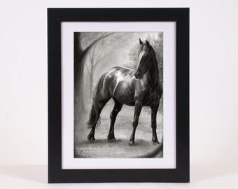 Horse Art PRINT, Mare Pencil Drawing GICLEE PRINT, Black Horse Sketch Art Poster Wall Art Decoration, Hyperrealism Artistic Home Decor