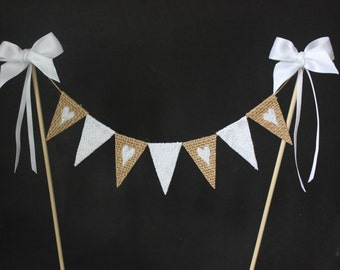 Wedding cake topper - hessian and lace cake bunting, cake banner, cake flags, burlap with white lace hearts and satin ribbon trim