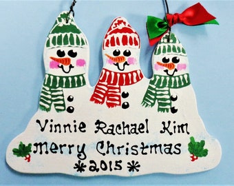 ORNAMENT Snowman Family of 3 Christmas U CHOOSE NAMES/Year Personalize Winter Hand Painted Handcrafted Wood Wooden