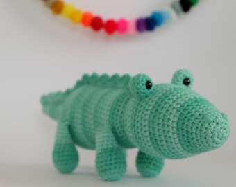 Crochet Amigurumi Crocodile PATTERN ONLY PDF Download Childrens Gift Stuffed Animal Toy