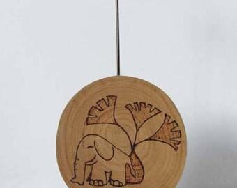 Photo holder or memo holder wooden chestnut Frogames Elephant pattern