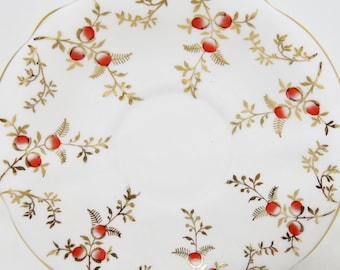 Queen Anne Orphan Orange Berries Gold Leaves Bone China Saucer 1950s Replacement Saucer Only No Tea Cup