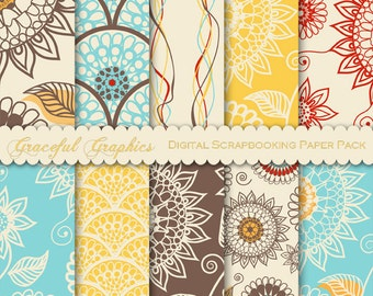 Scrapbook Paper Pack Digital Scrapbooking 10 Background Papers DOODLE Flowers Suns Gold RED Brown Turquoise 8.5 x 11 1652gg