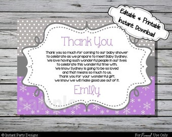 Winter Wonderland Thank You Card Baby Shower Purple Snowflake - Editable Printable Digital File with Instant Download