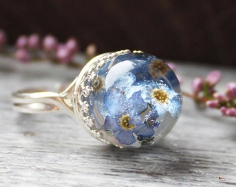 Real Flower Ring Forget me Not ring Terrarium ring Sterling silver forget me not Pressed Flower Ring Botanical Jewelry Dried flower jewelry