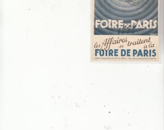 1940's Foire De Paris Poster Style Vintage Postcard Stamp Show