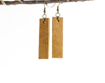 Caramel Leather Earrings // Joanna Gaines style Leather Drop Earrings // Gifts for Mother's Day // 2 Inch Leather Bar