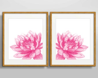 Pink floral art print sets, floral bedroom decor set of 2 prints, wall painting, botanical prints, Lotus flower art, yoga art lotus painting