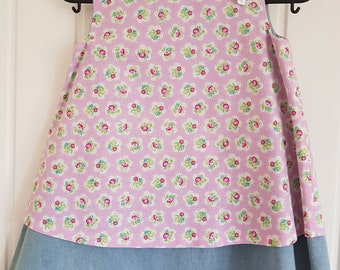 Pink Rose Denim Girls Pinafore Dress Age 3 years