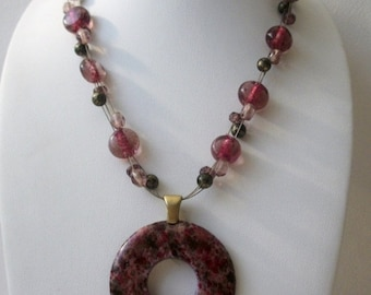 ON SALE Vintage Signed Rough Fuchsia Crazy Lace Agate Stone Pendant Glass Beads Necklace 21417
