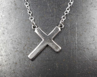 Fine Silver Cross Necklace-  Christ Carrying the Cross- Sideways Cross Necklace- Simple Cross Pendant- Religious Jewelry- Sterling Silver