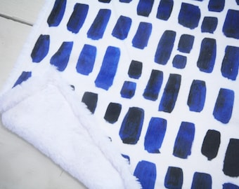 Navy Blue Watercolor Baby Blanket Lovey, Baby Boy Minky Lovey, Watercolor Brushstrokes Lovey, Ready to Ship, Baby First Christmas