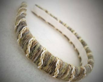 Luxurious Mohair Yarn Wrapped Hairband with Braided Trim by Wildling Art