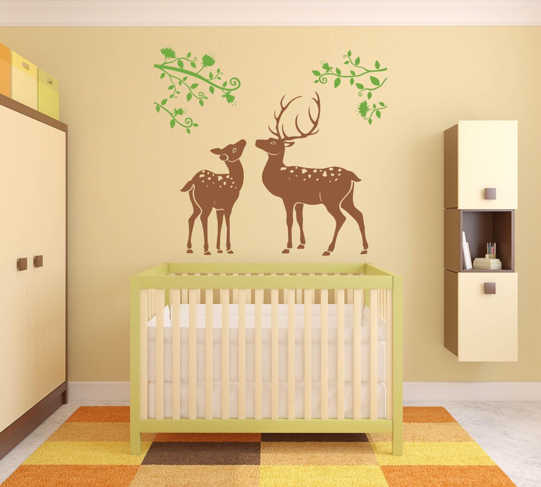 Nursery wall decal Baby Deer Nursery Decor Baby room Jungle